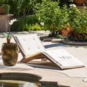 Midori Mahogany Wood Folding Chaise Lounger Chair w/ Cream Cushion