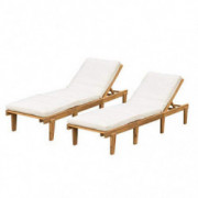 Christopher Knight Home Outdoor Pool/Deck Furniture, Teak Chaise Lounge Chairs with Cushions  Set of 2