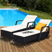 Tangkula Adjustable Patio Rattan Wicker Lounge Chair with Wheels, Modern Rattan Chaise Chair with Cushioned Seating and Back