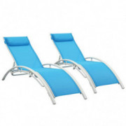 Patio Chaise Lounge Sets,Outdoor 4 Adjustable Reclining Chaise Lounge Chair,with Removable Pillow  Set of 2
