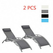 Adjustable Chaise Lounge Chair with Headrest, Set of 2 Aluminum for Sunbathing On Outdoor Patio Beach Pool Backyard Lounge Ch