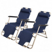 Livebest Set of 2 Indoor Reclining Lounge Folding Chairs Portable for Yard Beach