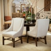 Claudia Natural Fabric Dining Chairs (Set of 2)