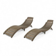 Christopher Knight Home 305101 Tycie Outdoor Acacia Wood Foldable Chaise Lounge  Set of 2 , Gray Finish