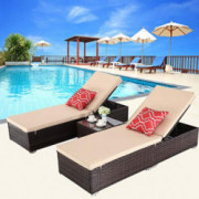 HTTH Outdoor Chaise Lounge, Easy to Assemble Chaise Longue, Thick & Comfy Cushion Wicker Lounge Chairs, 3 Pcs Chaise Lounge C