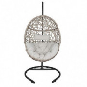 Outdoor Patio Wicker Hanging Basket Swing Chair Tear Drop Egg Chair with Cushion and Stand  Beige
