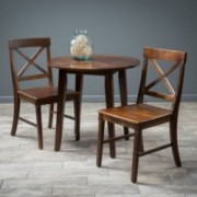 Potter 3pc Mahogany Stained Wood Round Table Dining Set