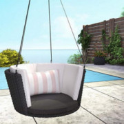 Novogratz 87059BPW1E Poolside Collection, Sally Patio Hanging, Black Wicker, Striped Rosewater Lumbar Pillow Swing