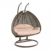 LeisureMod Wicker 2 Person Double Hanging Swing Egg Chairs Patio Indoor Outdoor Use Lounge Chair  Beige