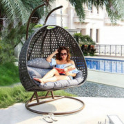 Island Gale Luxury 2 Person Wicker Swing Chair   2 Person  X-Large, Charcoal Rattan/Charcoal Cushion