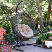 Resin Wicker Espresso Hanging Egg Chair with Tufted Khaki Cushion and Stand