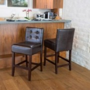 Gregory Brown Leather Counter Stools (Set of 2)