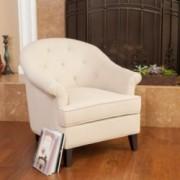 Madeline Beige Fabric Armchair