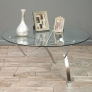 Davina Tempered Glass Round Accent Coffee Table w/ Chrome Legs