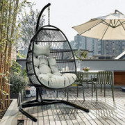 TOME Foldable Swing Chair with Stand, Rattan Wicker Hanging Egg Chair Hammock Chair with Cushion and Pillow for Indoor Outdoo