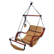 South Mission Hammock Hanging Chair Porch/Patio Swing with Wooden Armrest  Sand
