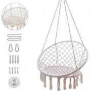 Hammock Chair Macrame Swing with Hanging Hardware Kit Cussion,330 Pound Capacity,Handmade Knitted Cotton Rope Hanging Chair,