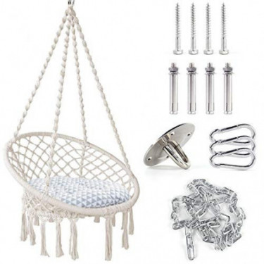 TOPNEW Hammock Swing Chair Macrame Hanging Chair, Bohemian Room Decor Cotton Rope Hammock Chair for Bedroom Living Room Patio