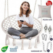Macrame Chair Swing | Hammock w/ Full Hanging Kit - Hanging Chair Handmade 100% Cotton for Comfort and Relaxation Indoor, Out