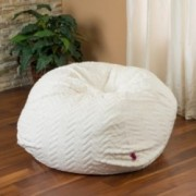 Ashley 3Ft Ivory Chevron Stripe Fabric Bean Bag Chair
