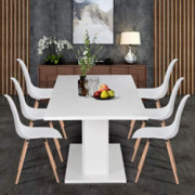 Homycasa Extensible White Dining Table,The Table Top with High-Glossy Easily Satisfy 4-8P for Dining Room, Farmhouse, Kitchen