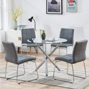 STYLIFING Dining Table and Chairs Set Round Clear Glass Top Crisscrossing Chrome Metal Legs Kitchen Table and 4 Sled Based Gr