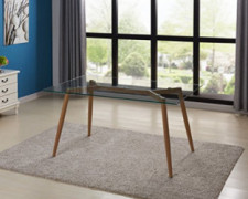 "IDS Online Mid Century Glass Dining Table With Foot Pad, Office Desk, Size 51.18"" X 31.50"" X 29.53"", Wooden Skin"