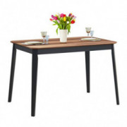 Giantex Wood Dining Table, Rectangular Kitchen Table, Modern Home Furniture for Dining Room  Walnut & Black