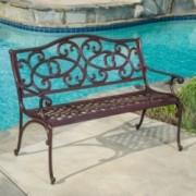 Siena Outdoor Cast Aluminum Brown Copper Garden Bench