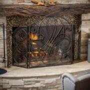 Rosalinda Black Gold Finish Floral Iron Fireplace Screen