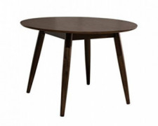 "Amazon Brand – Rivet Mid-Century Round Wood Dining Table, 42""W, Chestnut"