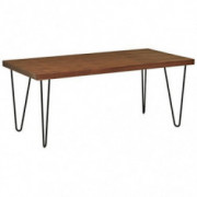"Amazon Brand – Rivet Industrial Mid-Century Modern Hairpin Dining Table, 70.9""L, Walnut and Black"