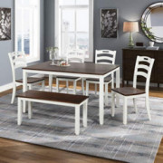 Merax Dining Table Set, 6 Piece Wood Kitchen Table Set Home Furniture Table Set with Chairs & Bench  White + Cherry