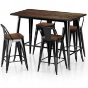 "VIPEK Metal Counter Height Dining Table Stools Sets with Solid Wood Top Low Backrest Heavy Duty 35.43"" Table 4pcs 24 inch Cha"