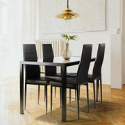 5-Piece Kitchen Dining Table Set Tempered Glass Tabletop, 4 Faux Leather Chairs - Black
