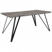 "Flash Furniture Corinth 31.5"" x 63"" Rectangular Dining Table in Faux Concrete Finish"