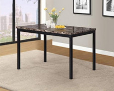 Roundhill Furniture Noyes Metal Dining Table with Laminated Faux Marble Top