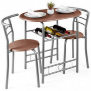 Best Choice Products 3-Piece Wooden Dining Room Round Table & Chairs Set w/Steel Frame, Built-in Wine Rack - Espresso