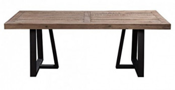 "Alpine Furniture Prairie Dining Table, 84"" W x 42"" D x 30"" H, Reclaimed Natural and Black Finish"