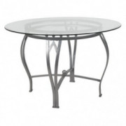 Flash Furniture Syracuse 45 Round Glass Dining Table with Silver Metal Frame