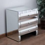 Isadora Modern Design Mirrored 3-Drawer Nightstand
