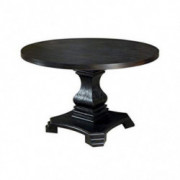 Benjara Traditional Style Wooden Round Top Dining Table with Pedestal Base, Black