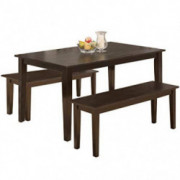 FDW Kitchen Bench for 4 Dining Room Set for Small Spaces Table with Chairs Home Furniture Rectangular Modern, Brown