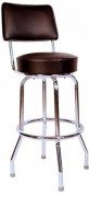 Richardson Seating Swivel Bar Stool with Back Chrome Frame and Seat, Black, 30""
