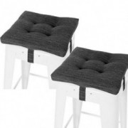 "baibu Set of 2 Square Seat Cushion, Super Soft Bar Stool Square Seat Cushion with Ties - Cushion Only  Gray-Black, 12""  30CM"