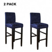 WOMACO Velvet Chair Cover for Bar Stools, Stretch Slipcover for Counter Height Chair, Dining Chair Cover  Small, Navy