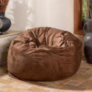 Lennie 4 Ft French Roast Brown Faux Suede Microfiber Fabric Bean Bag