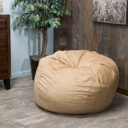 Lennie 4 Ft Tuscan Tan Faux Suede Microfiber Fabric Bean Bag