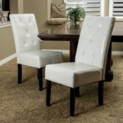 Alexander Ivory Bonded Leather Dining Chair (Set of 2)