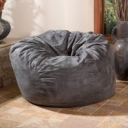Lennie 4 Ft Charcoal Grey Faux Suede Microfiber Fabric Bean Bag